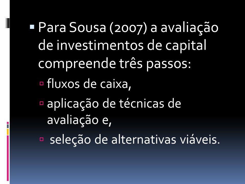 Para Sousa (2007) a avaliação de investimentos de capital compreende três passos: fluxos de caixa, aplicação de técnicas de avaliação e, seleção de alternativas viáveis.