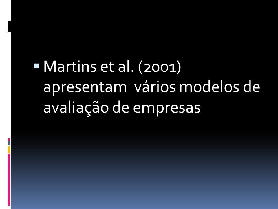 Martins et al. (2001) apresentam vários modelos de avaliação de empresas