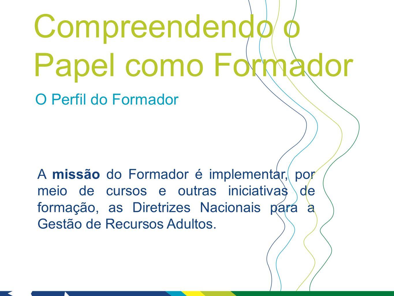 O Perfil do Formador A missão do Formador é implementar, por meio de cursos e outras iniciativas de formação, as Diretrizes Nacionais para a Gestão de Recursos Adultos.