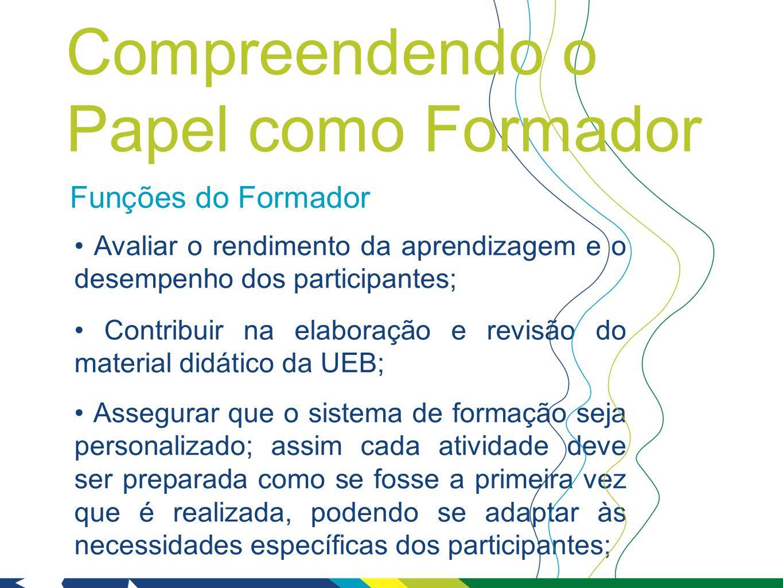 Funções do Formador Avaliar o rendimento da aprendizagem e o desempenho dos participantes; Contribuir na elaboração e revisão do material didático da