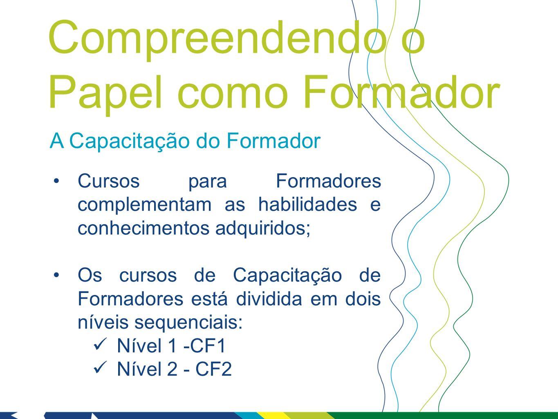 A Capacitação do Formador Cursos para Formadores complementam as habilidades e conhecimentos adquiridos; Os cursos de Capacitação de Formadores está dividida em dois níveis sequenciais: Nível 1 -CF1 Nível 2 - CF2 Compreendendo o Papel como Formador