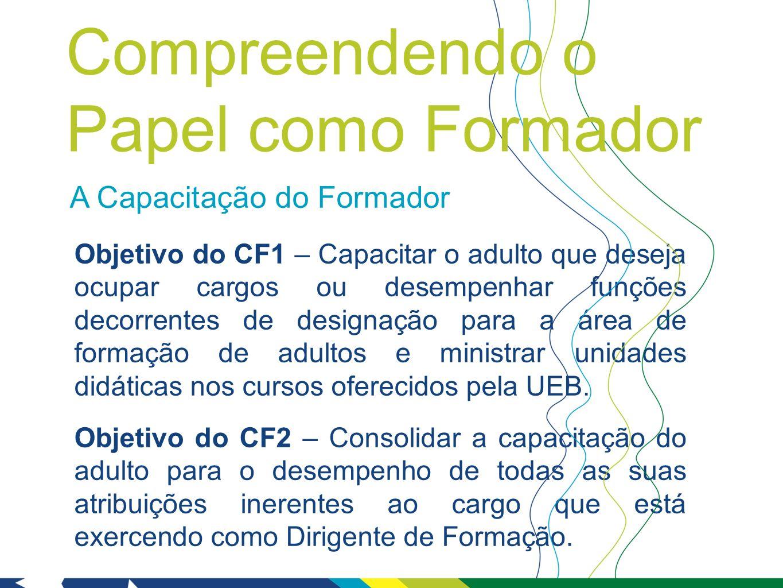 A Capacitação do Formador Objetivo do CF1 – Capacitar o adulto que deseja ocupar cargos ou desempenhar funções decorrentes de designação para a área d