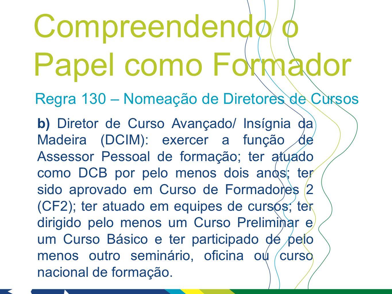 Regra 130 – Nomeação de Diretores de Cursos b) Diretor de Curso Avançado/ Insígnia da Madeira (DCIM): exercer a função de Assessor Pessoal de formação