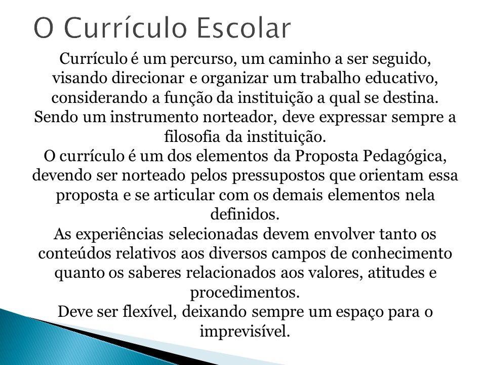 Currículo é um percurso, um caminho a ser seguido, visando direcionar e organizar um trabalho educativo, considerando a função da instituição a qual se destina.