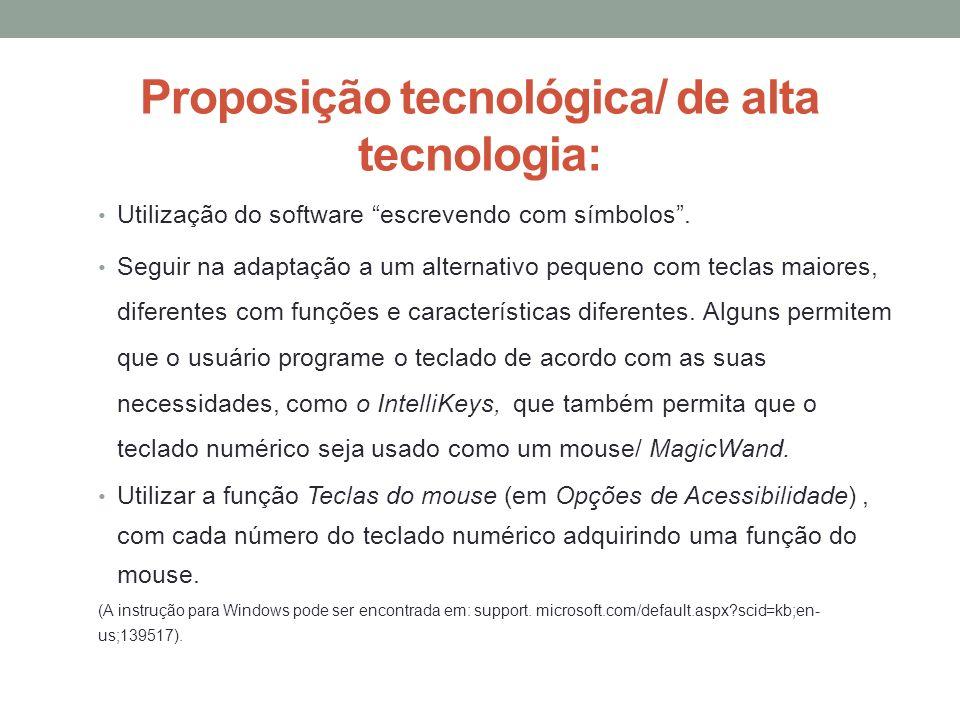 Proposição tecnológica/ de alta tecnologia: Utilização do software escrevendo com símbolos. Seguir na adaptação a um alternativo pequeno com teclas ma