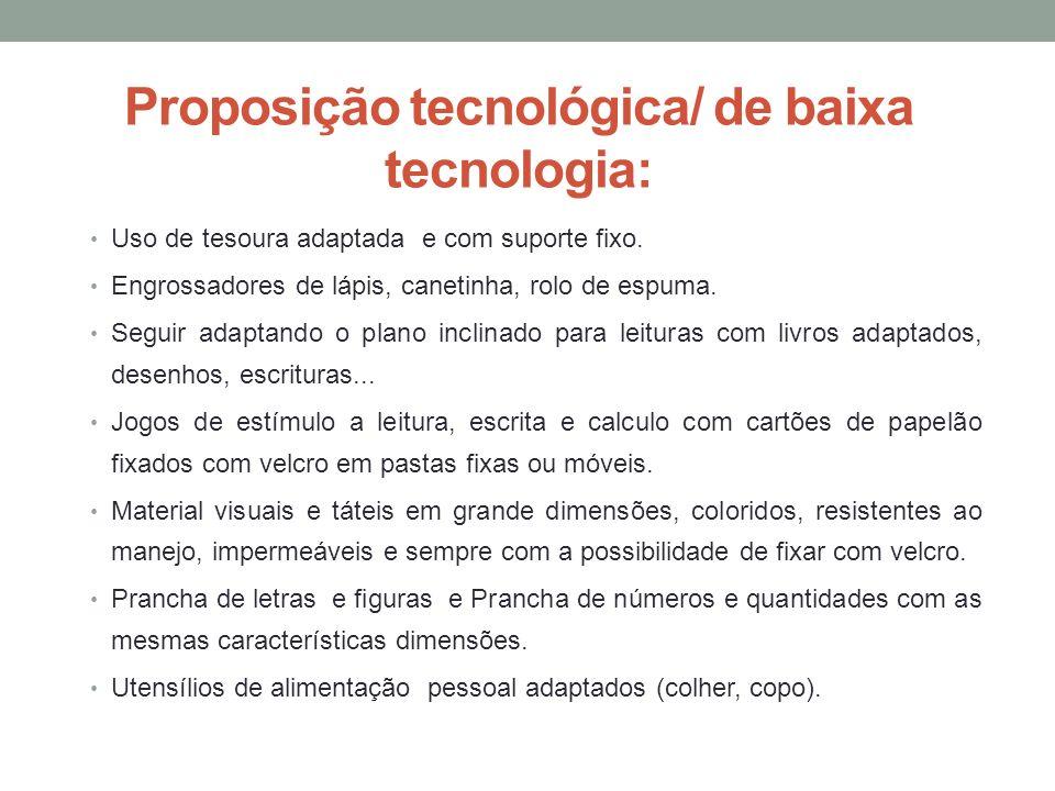 Proposição tecnológica/ de baixa tecnologia: Uso de tesoura adaptada e com suporte fixo. Engrossadores de lápis, canetinha, rolo de espuma. Seguir ada