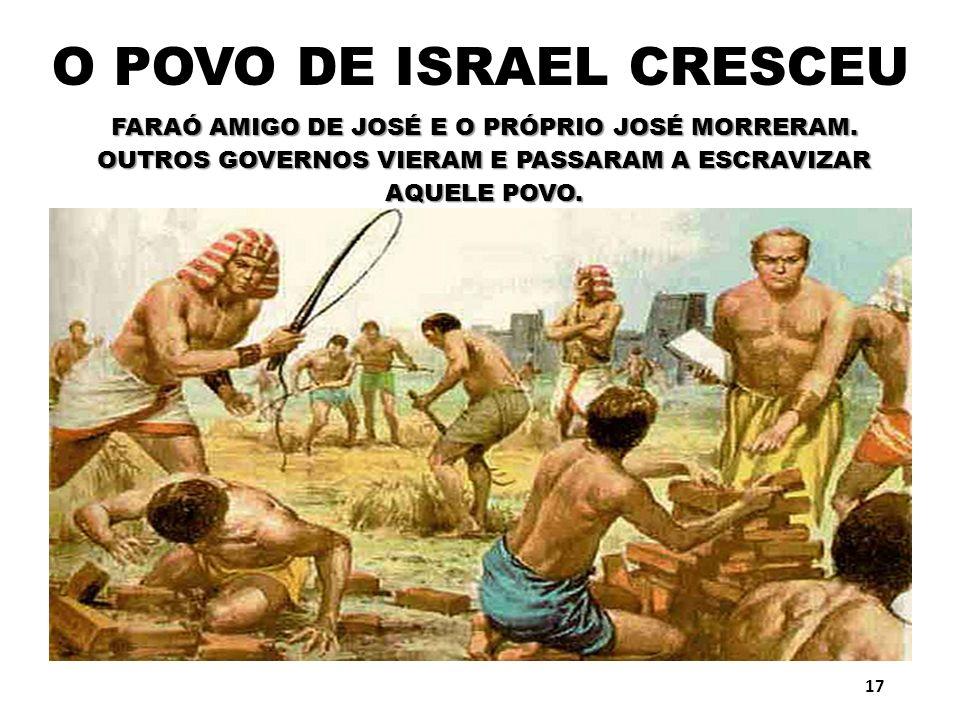 O POVO DE ISRAEL CRESCEU FARAÓ AMIGO DE JOSÉ E O PRÓPRIO JOSÉ MORRERAM. OUTROS GOVERNOS VIERAM E PASSARAM A ESCRAVIZAR AQUELE POVO. 17