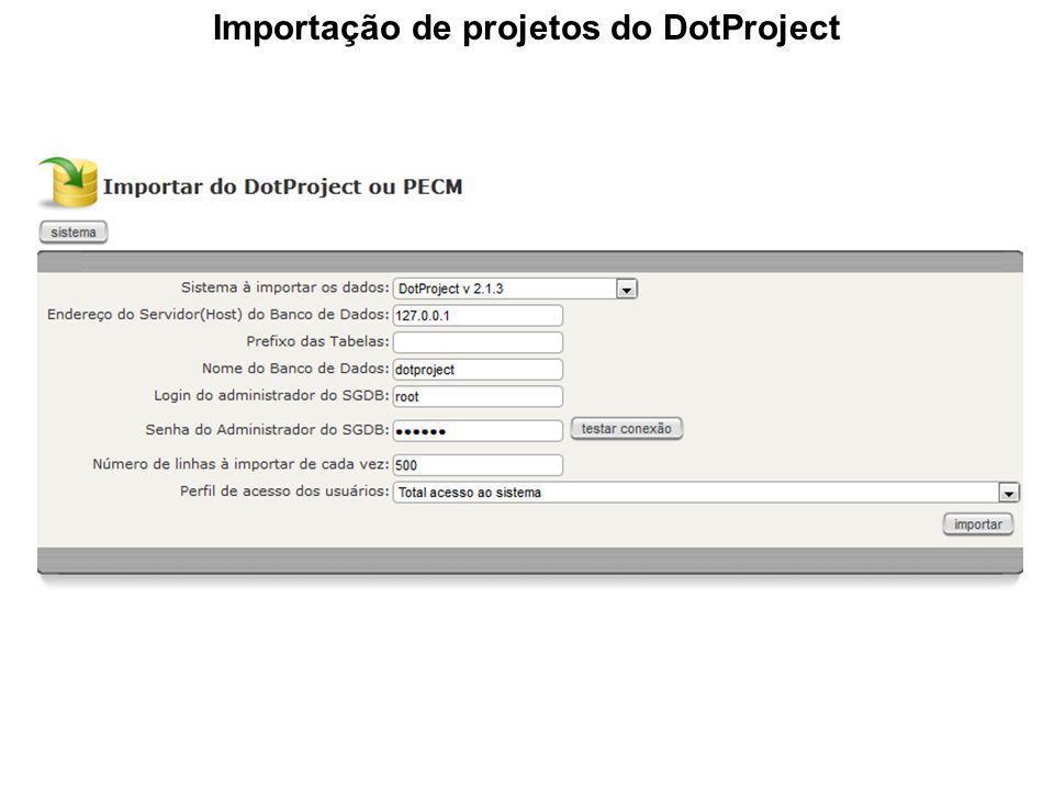 Importação de projetos do MS Project
