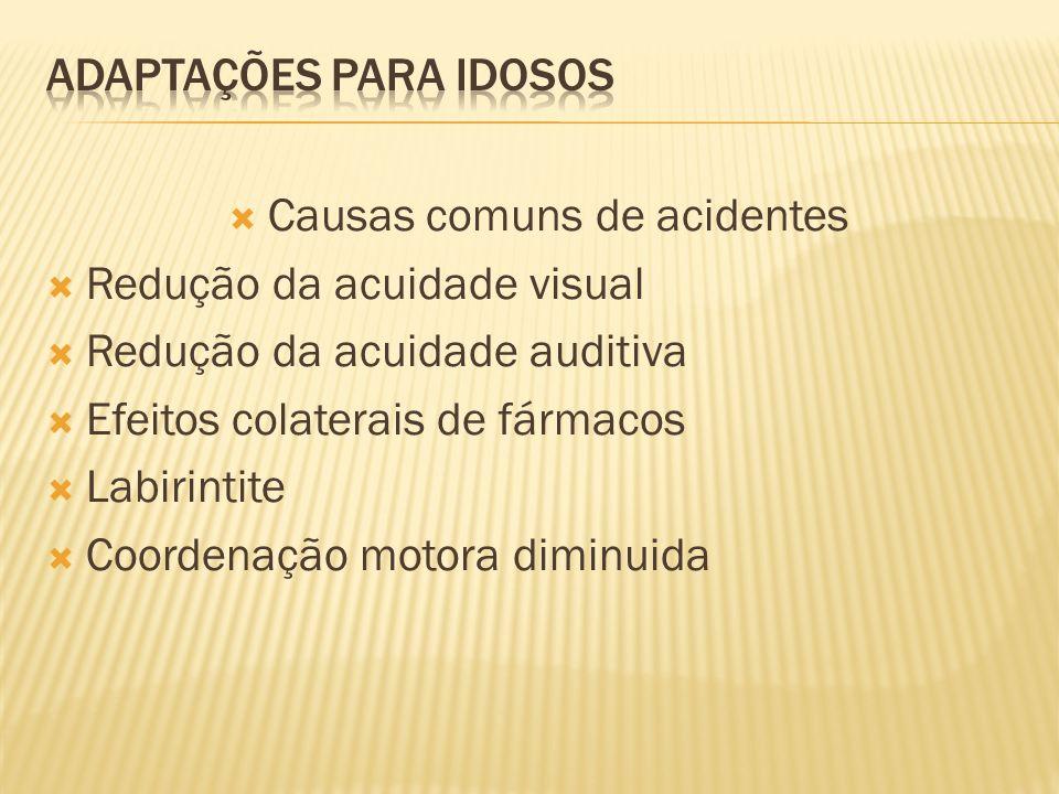 Causas comuns de acidentes Redução da acuidade visual Redução da acuidade auditiva Efeitos colaterais de fármacos Labirintite Coordenação motora diminuida