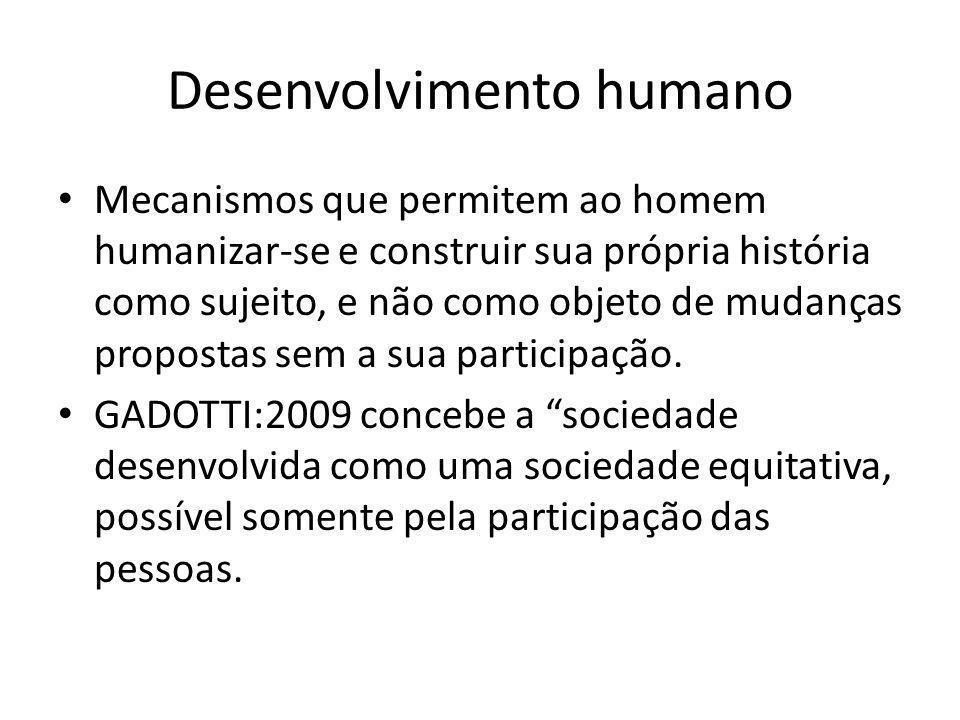 Relação entre tecnologias sociais, desenvolvimento humano e melhorias de vida Mecanismos que permitem ao homem humanizar-se e construir sua própria história como sujeito, e não como objeto de mudanças propostas.