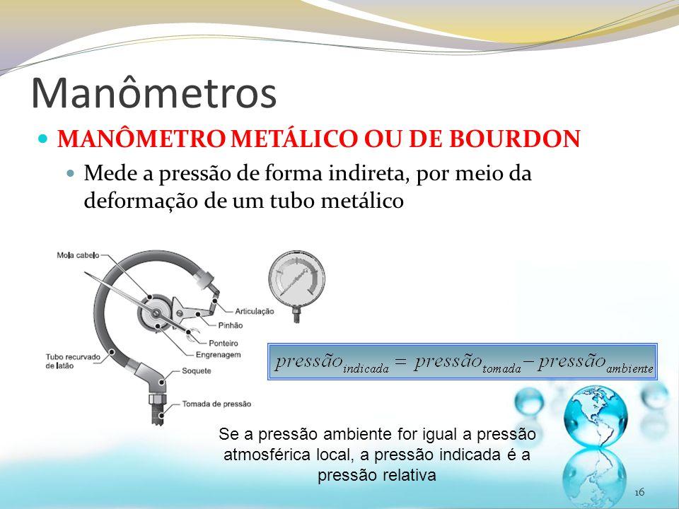 Manômetros MANÔMETRO METÁLICO OU DE BOURDON Mede a pressão de forma indireta, por meio da deformação de um tubo metálico 16 Se a pressão ambiente for