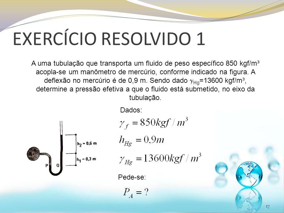 EXERCÍCIO RESOLVIDO 1 17 A uma tubulação que transporta um fluido de peso específico 850 kgf/m³ acopla-se um manômetro de mercúrio, conforme indicado