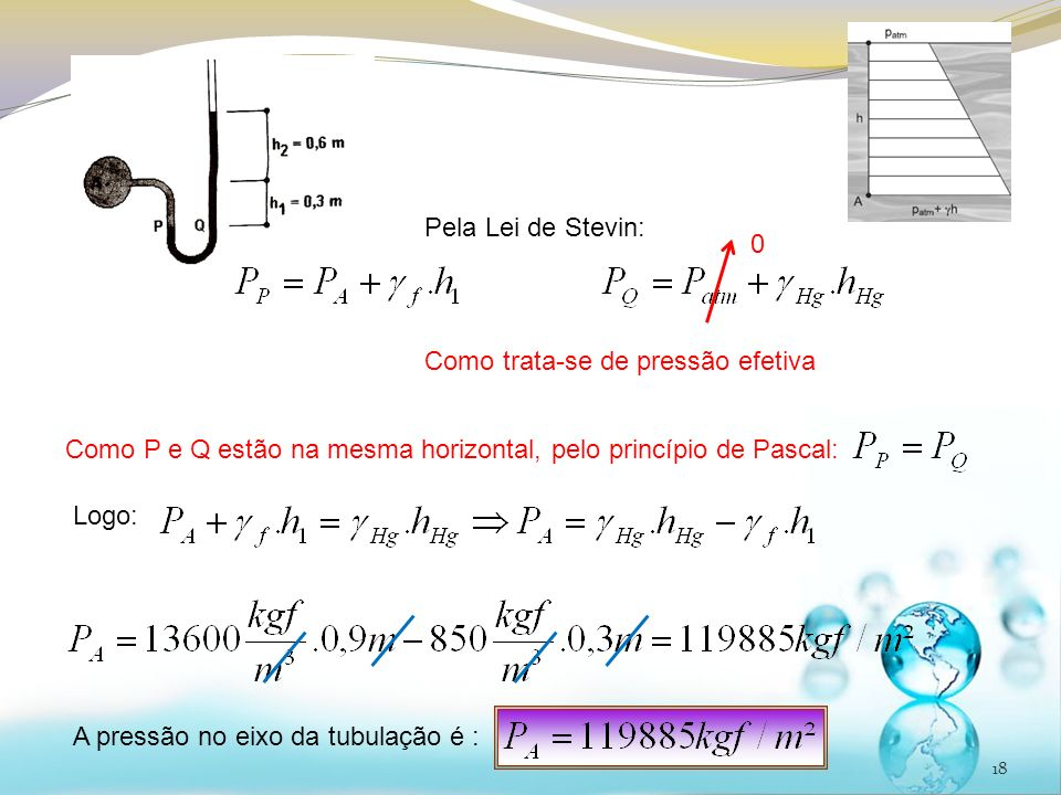 18 Pela Lei de Stevin: Logo: Como trata-se de pressão efetiva A pressão no eixo da tubulação é : Como P e Q estão na mesma horizontal, pelo princípio de Pascal: 0