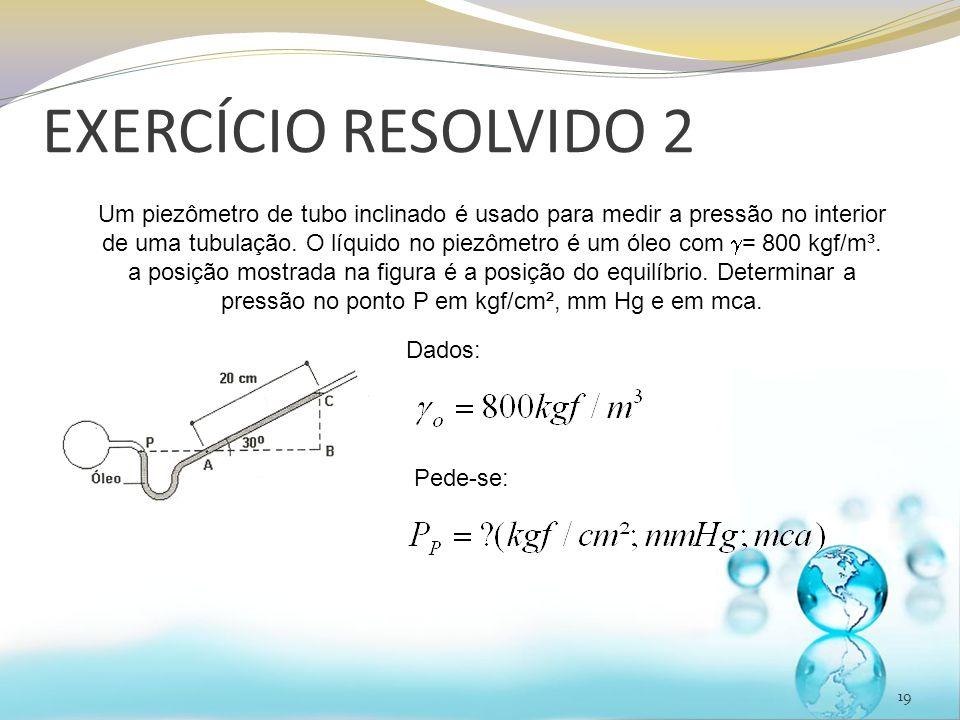 EXERCÍCIO RESOLVIDO 2 19 Um piezômetro de tubo inclinado é usado para medir a pressão no interior de uma tubulação.