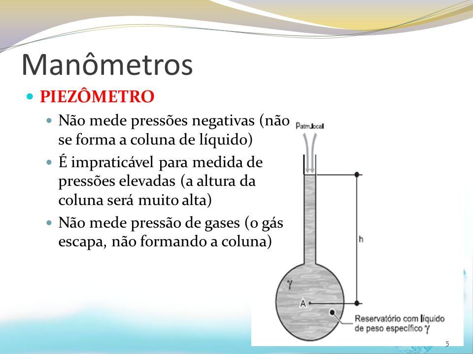 Manômetros PIEZÔMETRO Não mede pressões negativas (não se forma a coluna de líquido) É impraticável para medida de pressões elevadas (a altura da coluna será muito alta) Não mede pressão de gases (o gás escapa, não formando a coluna) 5
