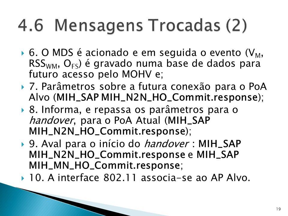 6. O MDS é acionado e em seguida o evento (V M, RSS WM, O FS ) é gravado numa base de dados para futuro acesso pelo MOHV e; 7. Parâmetros sobre a futu