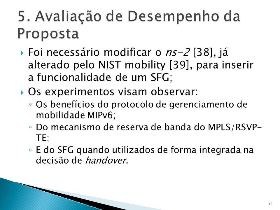 Foi necessário modificar o ns-2 [38], já alterado pelo NIST mobility [39], para inserir a funcionalidade de um SFG; Os experimentos visam observar: Os