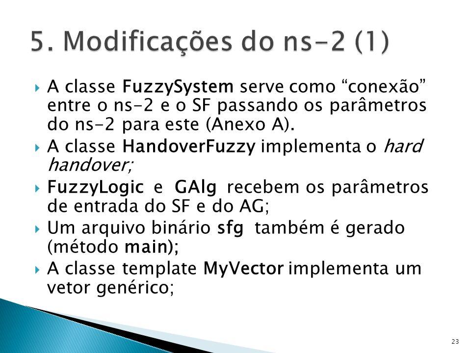 A classe FuzzySystem serve como conexão entre o ns-2 e o SF passando os parâmetros do ns-2 para este (Anexo A). A classe HandoverFuzzy implementa o ha