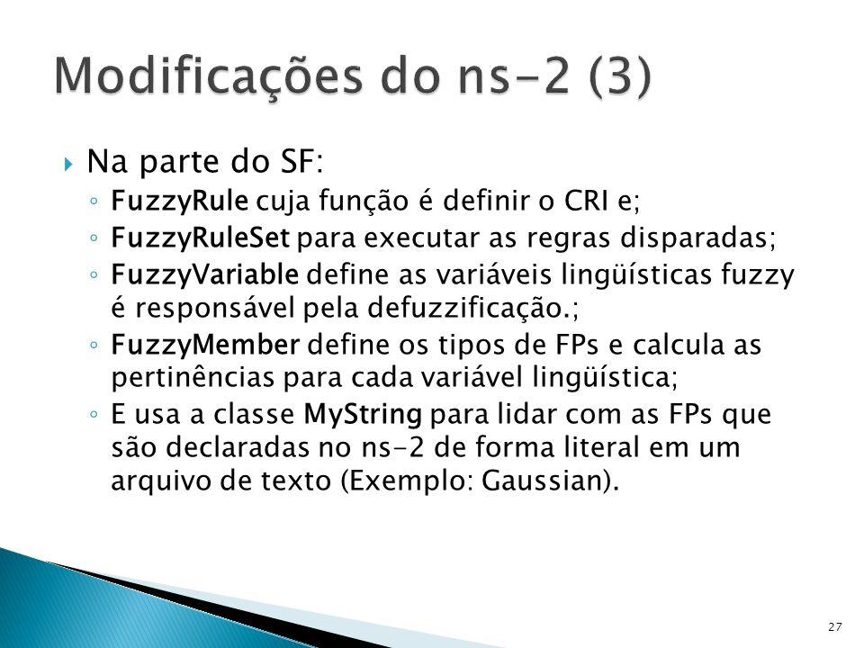 Na parte do SF: FuzzyRule cuja função é definir o CRI e; FuzzyRuleSet para executar as regras disparadas; FuzzyVariable define as variáveis lingüístic