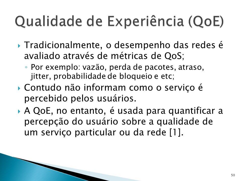 Tradicionalmente, o desempenho das redes é avaliado através de métricas de QoS; Por exemplo: vazão, perda de pacotes, atraso, jitter, probabilidade de