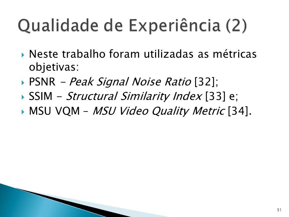 Neste trabalho foram utilizadas as métricas objetivas: PSNR - Peak Signal Noise Ratio [32]; SSIM - Structural Similarity Index [33] e; MSU VQM – MSU V