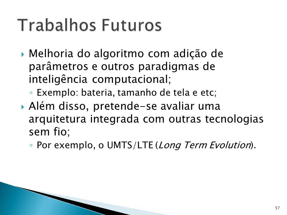 Melhoria do algoritmo com adição de parâmetros e outros paradigmas de inteligência computacional; Exemplo: bateria, tamanho de tela e etc; Além disso,