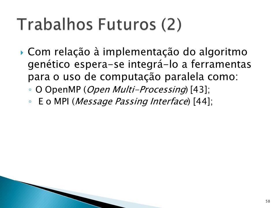 Com relação à implementação do algoritmo genético espera-se integrá-lo a ferramentas para o uso de computação paralela como: O OpenMP (Open Multi-Proc