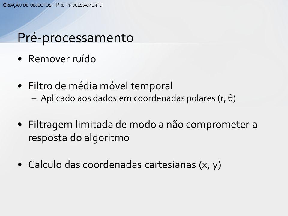 Remover ruído Filtro de média móvel temporal –Aplicado aos dados em coordenadas polares (r, θ) Filtragem limitada de modo a não comprometer a resposta do algoritmo Calculo das coordenadas cartesianas (x, y) Pré-processamento C RIAÇÃO DE OBJECTOS – P RÉ - PROCESSAMENTO