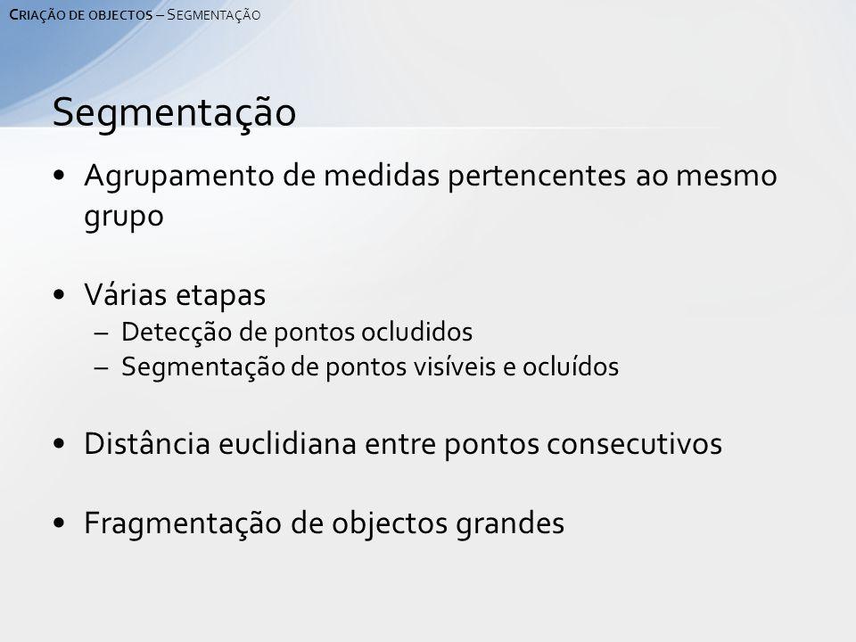 Agrupamento de medidas pertencentes ao mesmo grupo Várias etapas –Detecção de pontos ocludidos –Segmentação de pontos visíveis e ocluídos Distância euclidiana entre pontos consecutivos Fragmentação de objectos grandes Segmentação C RIAÇÃO DE OBJECTOS – S EGMENTAÇÃO