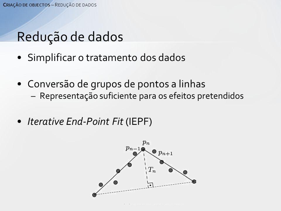 Simplificar o tratamento dos dados Conversão de grupos de pontos a linhas –Representação suficiente para os efeitos pretendidos Iterative End-Point Fit (IEPF) Redução de dados C RIAÇÃO DE OBJECTOS – R EDUÇÃO DE DADOS