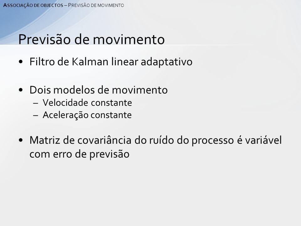 Filtro de Kalman linear adaptativo Dois modelos de movimento –Velocidade constante –Aceleração constante Matriz de covariância do ruído do processo é variável com erro de previsão Previsão de movimento A SSOCIAÇÃO DE OBJECTOS – P REVISÃO DE MOVIMENTO
