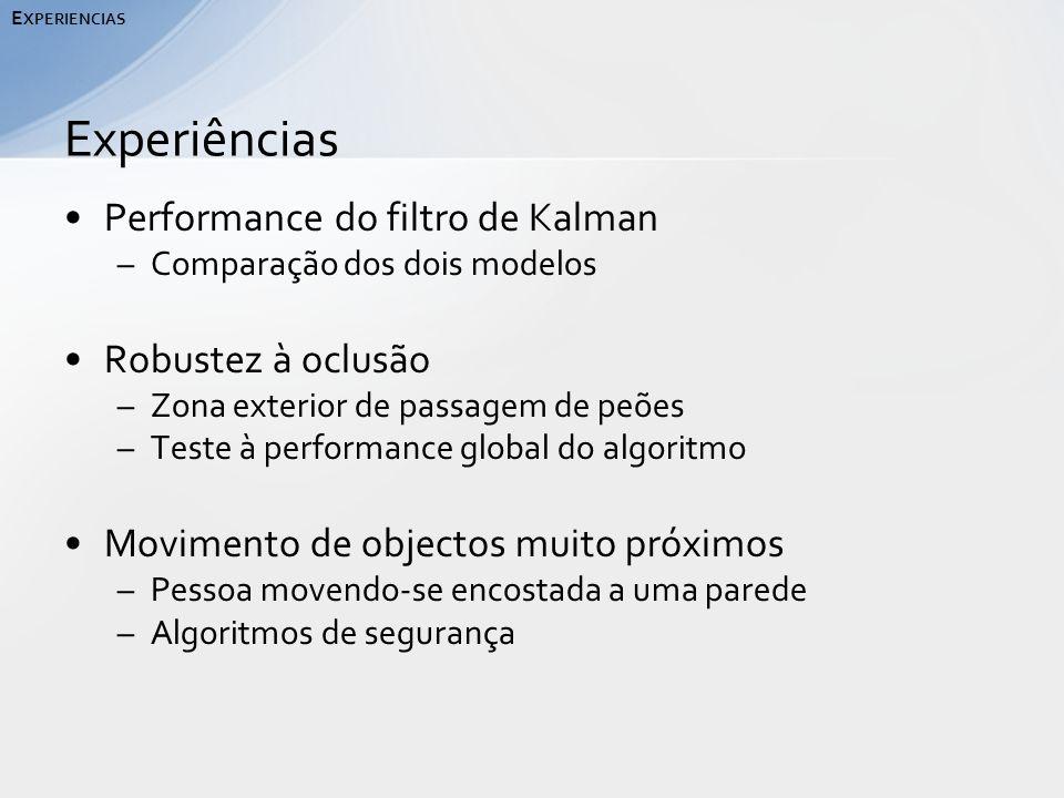 Performance do filtro de Kalman –Comparação dos dois modelos Robustez à oclusão –Zona exterior de passagem de peões –Teste à performance global do algoritmo Movimento de objectos muito próximos –Pessoa movendo-se encostada a uma parede –Algoritmos de segurança Experiências E XPERIENCIAS