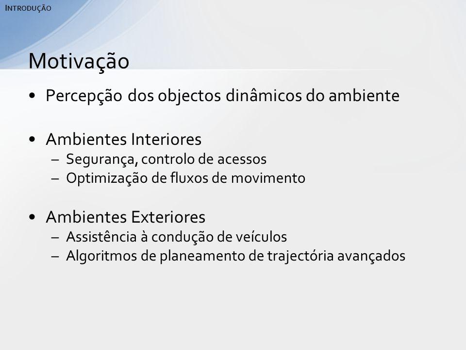 Percepção dos objectos dinâmicos do ambiente Ambientes Interiores –Segurança, controlo de acessos –Optimização de fluxos de movimento Ambientes Exteriores –Assistência à condução de veículos –Algoritmos de planeamento de trajectória avançados Motivação I NTRODUÇÃO