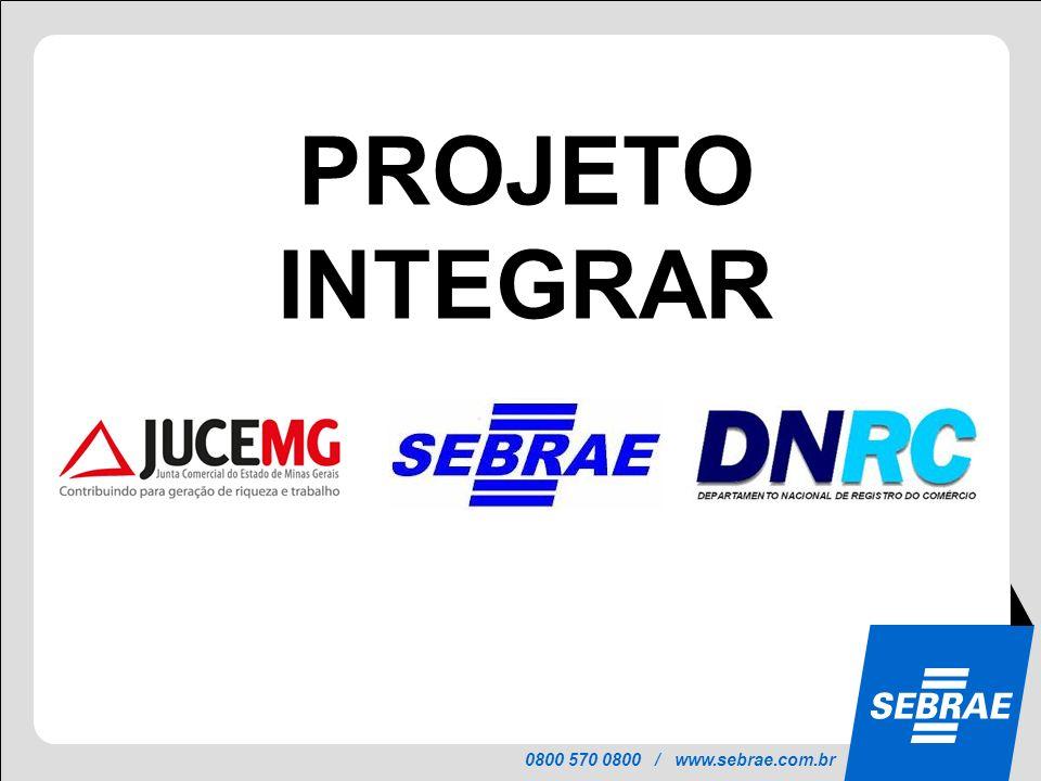 0800 570 0800 / www.sebrae.com.br PROJETO INTEGRAR Uma parceria do SEBRAE nacional, JUCEMG, MDCI/DNRC e Juntas Comerciais para a implantação da REDESIM no País.