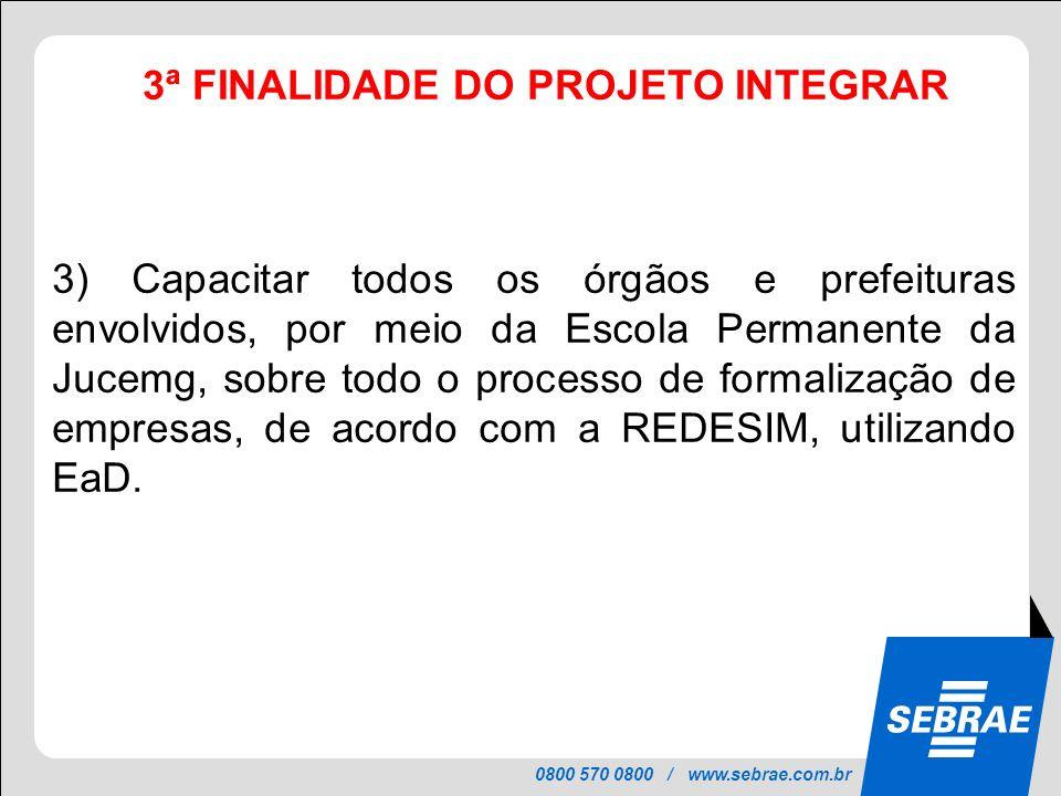 0800 570 0800 / www.sebrae.com.br 3ª FINALIDADE DO PROJETO INTEGRAR PROJETO INTEGRAR 3) Capacitar todos os órgãos e prefeituras envolvidos, por meio d