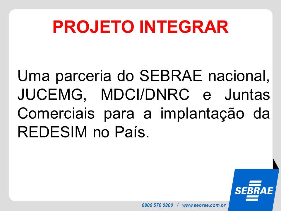 0800 570 0800 / www.sebrae.com.br PROJETO INTEGRAR Uma parceria do SEBRAE nacional, JUCEMG, MDCI/DNRC e Juntas Comerciais para a implantação da REDESI