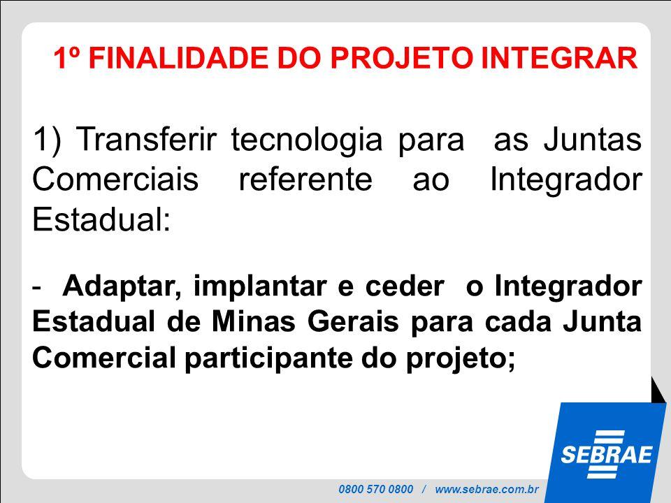 0800 570 0800 / www.sebrae.com.br 1º FINALIDADE DO PROJETO INTEGRAR PROJETO INTEGRAR 1) Transferir tecnologia para as Juntas Comerciais referente ao I