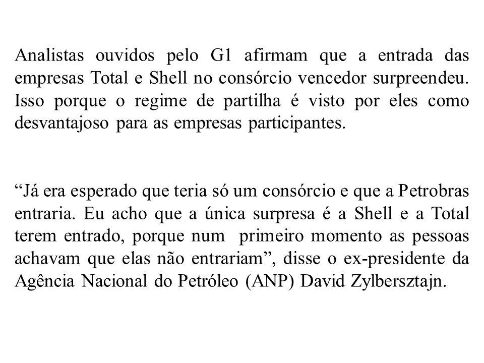 Analistas ouvidos pelo G1 afirmam que a entrada das empresas Total e Shell no consórcio vencedor surpreendeu. Isso porque o regime de partilha é visto
