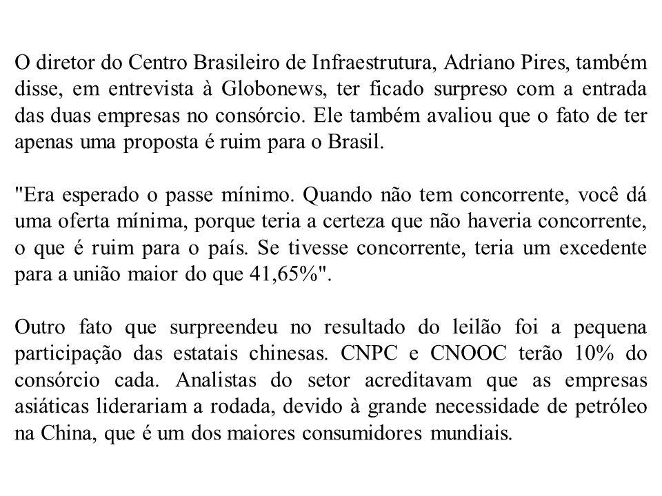 O diretor do Centro Brasileiro de Infraestrutura, Adriano Pires, também disse, em entrevista à Globonews, ter ficado surpreso com a entrada das duas e