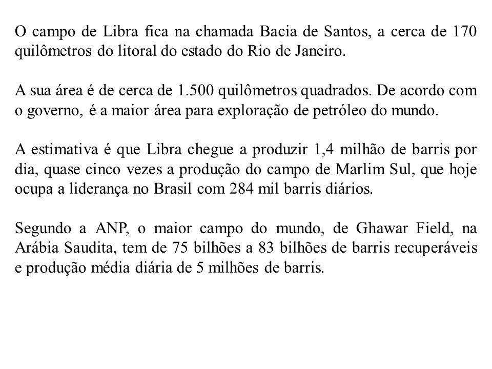 O campo de Libra fica na chamada Bacia de Santos, a cerca de 170 quilômetros do litoral do estado do Rio de Janeiro. A sua área é de cerca de 1.500 qu