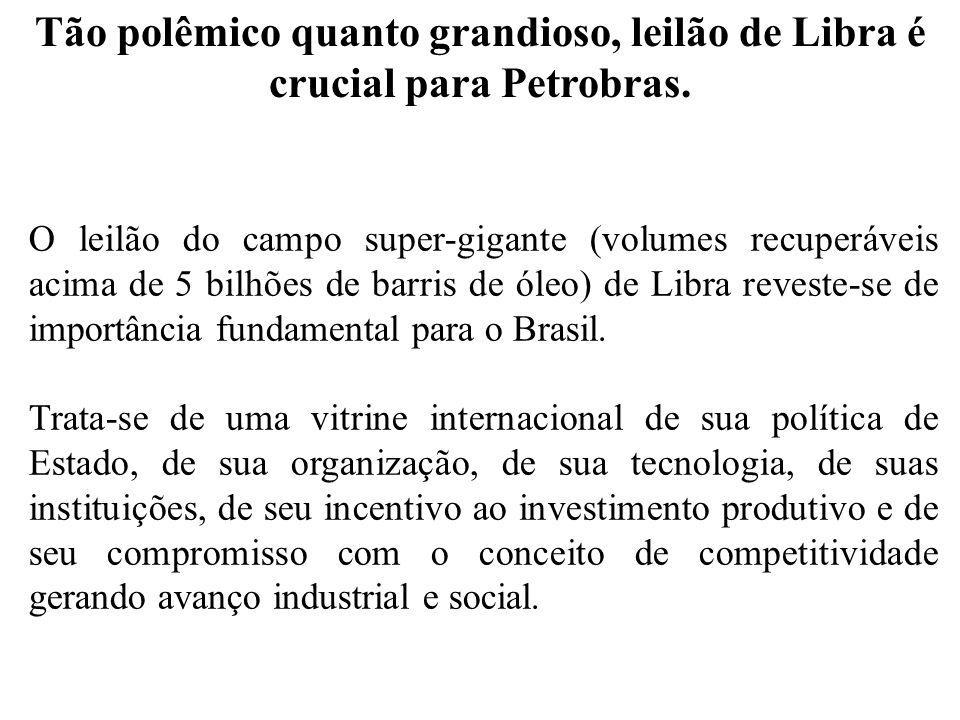 Tão polêmico quanto grandioso, leilão de Libra é crucial para Petrobras. O leilão do campo super-gigante (volumes recuperáveis acima de 5 bilhões de b