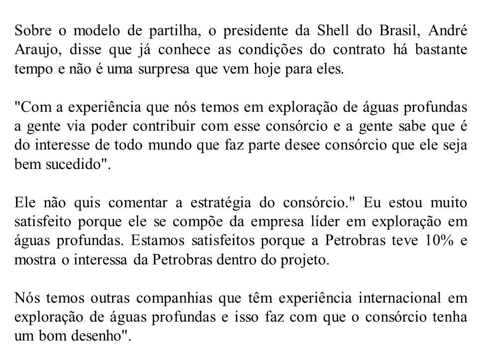 Sobre o modelo de partilha, o presidente da Shell do Brasil, André Araujo, disse que já conhece as condições do contrato há bastante tempo e não é uma