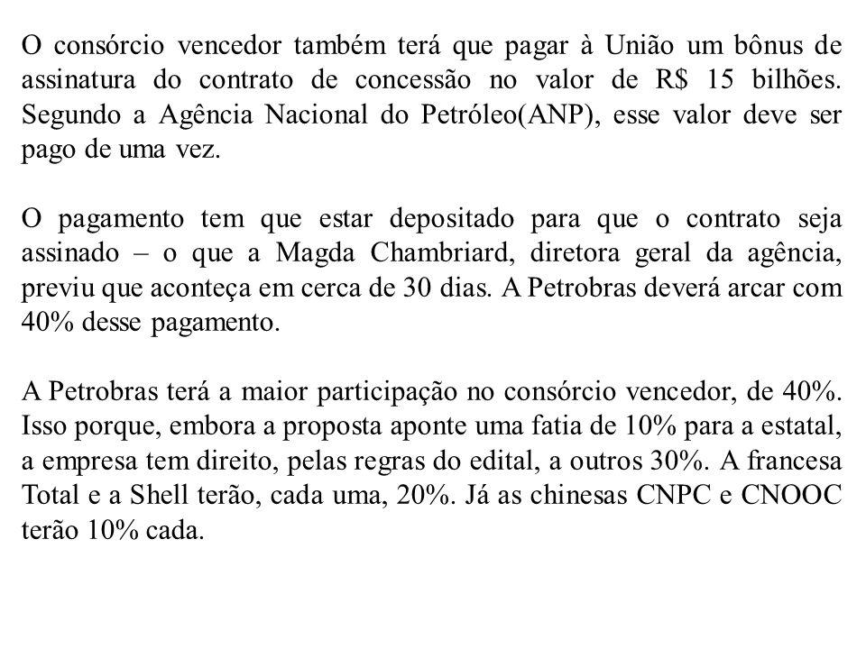 O consórcio vencedor também terá que pagar à União um bônus de assinatura do contrato de concessão no valor de R$ 15 bilhões. Segundo a Agência Nacion