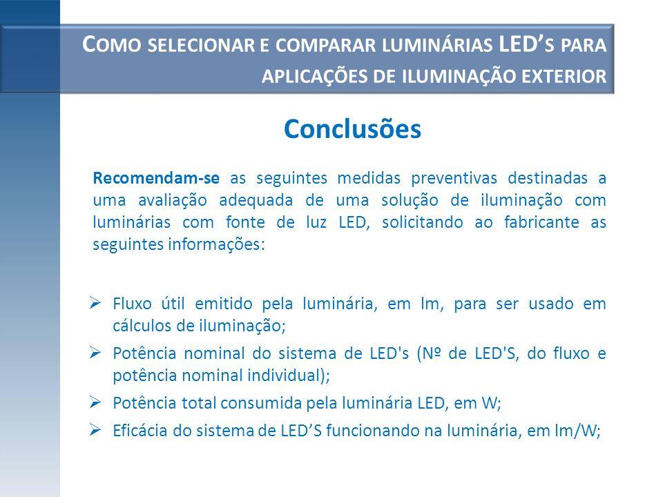 C OMO SELECIONAR E COMPARAR LUMINÁRIAS LED S PARA APLICAÇÕES DE ILUMINAÇÃO EXTERIOR Fluxo útil emitido pela luminária, em lm, para ser usado em cálcul