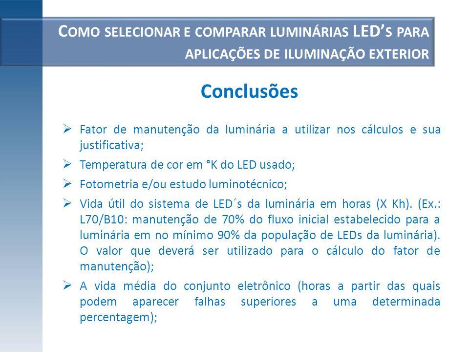 C OMO SELECIONAR E COMPARAR LUMINÁRIAS LED S PARA APLICAÇÕES DE ILUMINAÇÃO EXTERIOR Fator de manutenção da luminária a utilizar nos cálculos e sua jus