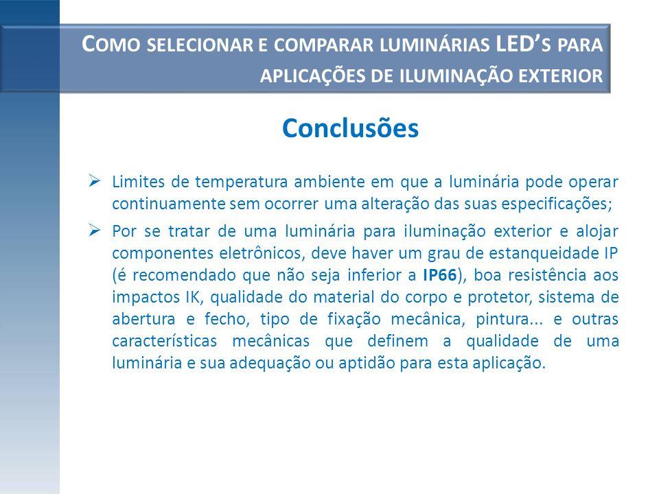 C OMO SELECIONAR E COMPARAR LUMINÁRIAS LED S PARA APLICAÇÕES DE ILUMINAÇÃO EXTERIOR Limites de temperatura ambiente em que a luminária pode operar con