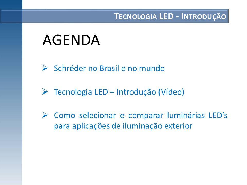 T ECNOLOGIA LED - I NTRODUÇÃO Schréder no Brasil e no mundo Tecnologia LED – Introdução (Vídeo) Como selecionar e comparar luminárias LEDs para aplica