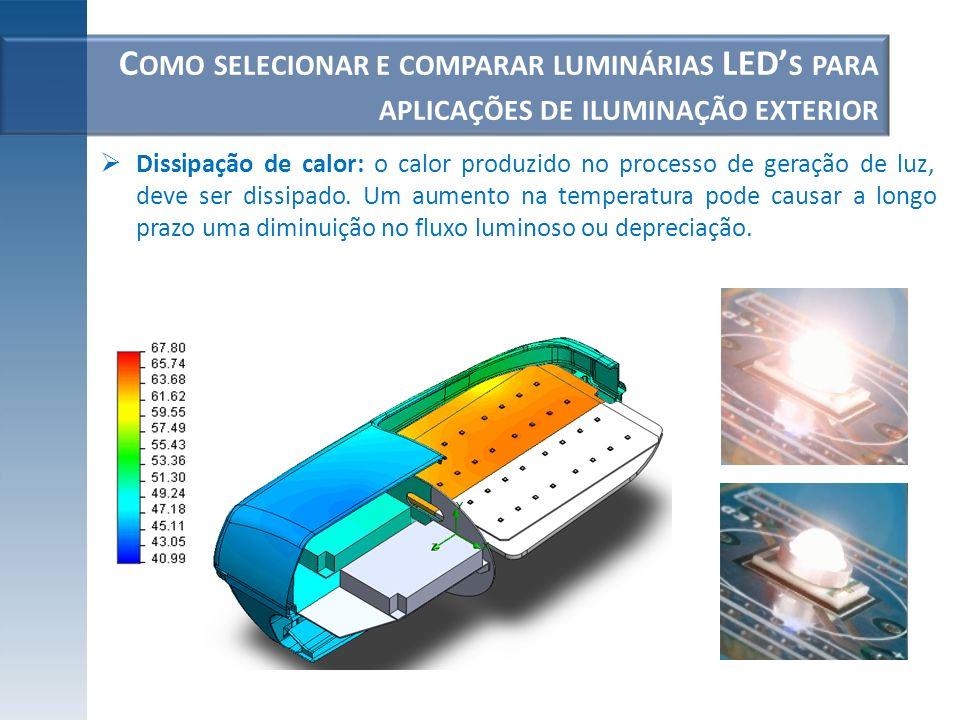 C OMO SELECIONAR E COMPARAR LUMINÁRIAS LED S PARA APLICAÇÕES DE ILUMINAÇÃO EXTERIOR Limites de temperatura ambiente em que a luminária pode operar continuamente sem ocorrer uma alteração das suas especificações; Por se tratar de uma luminária para iluminação exterior e alojar componentes eletrônicos, deve haver um grau de estanqueidade IP (é recomendado que não seja inferior a IP66), boa resistência aos impactos IK, qualidade do material do corpo e protetor, sistema de abertura e fecho, tipo de fixação mecânica, pintura...