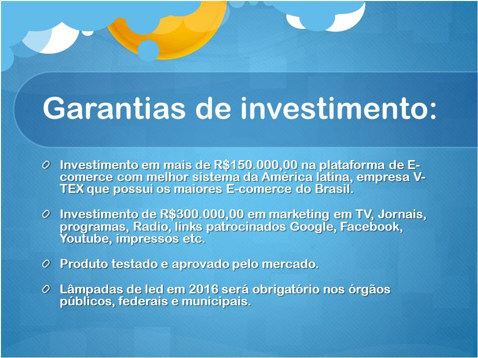 Garantias de investimento: Investimento em mais de R$150.000,00 na plataforma de E- comerce com melhor sistema da América latina, empresa V- TEX que possui os maiores E-comerce do Brasil.
