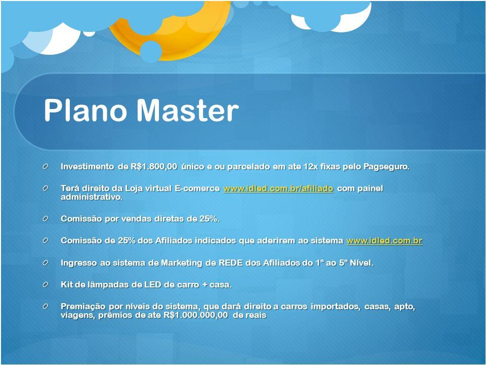 Plano Master Investimento de R$1.800,00 único e ou parcelado em ate 12x fixas pelo Pagseguro.